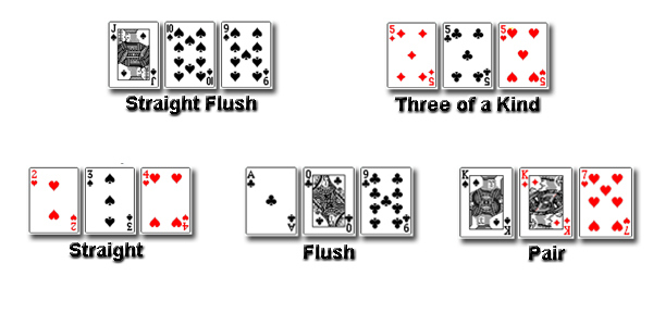 3 card poker hands ranking